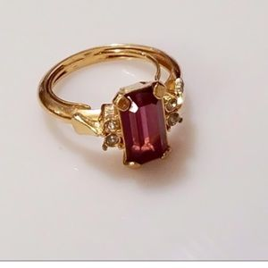 AVON AMETHYST AND CZ RING